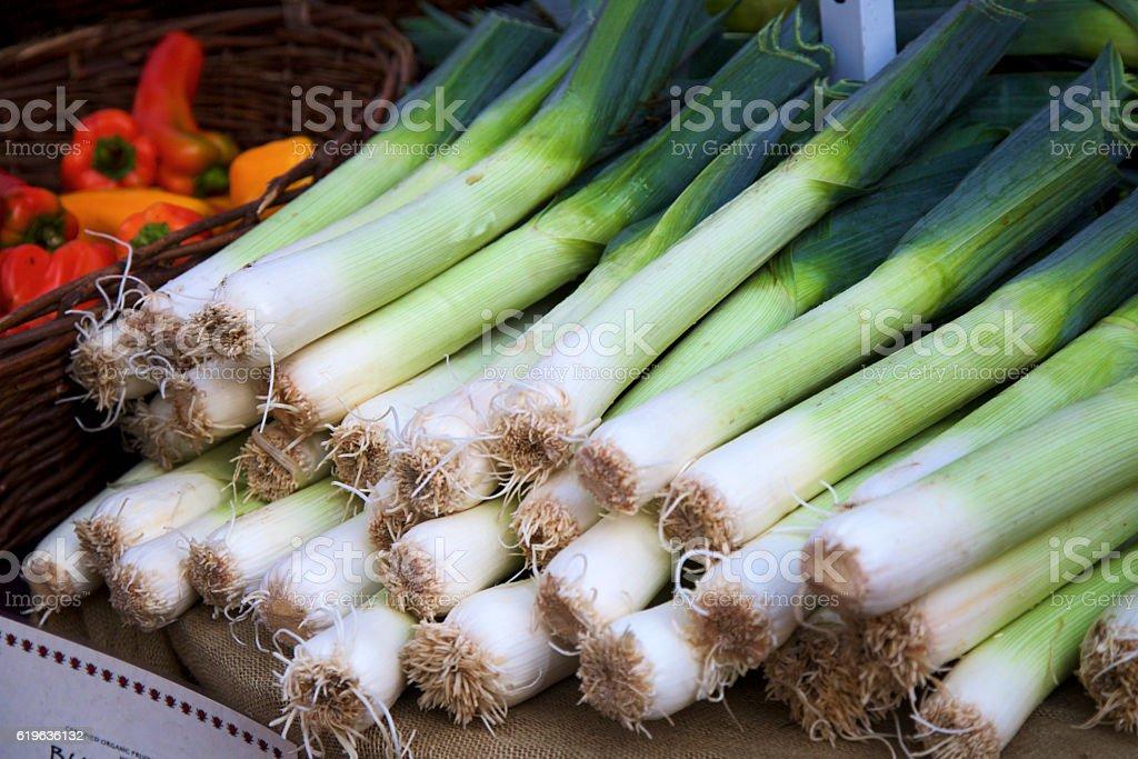 Farmer's market leeks stock photo