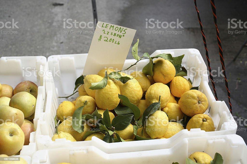Farmers Market: Lisbon Lemons royalty-free stock photo
