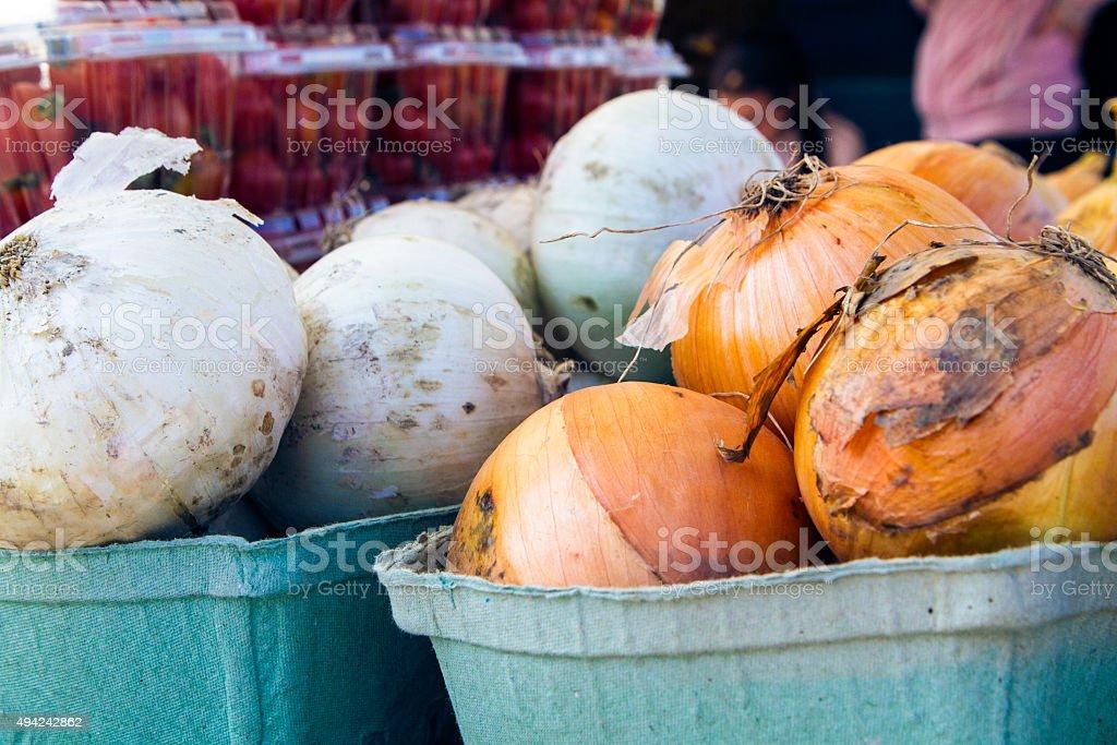 Farmers Market Onions stock photo