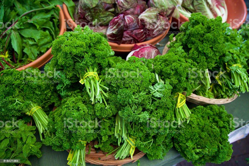 Farmer's market Parsley stock photo