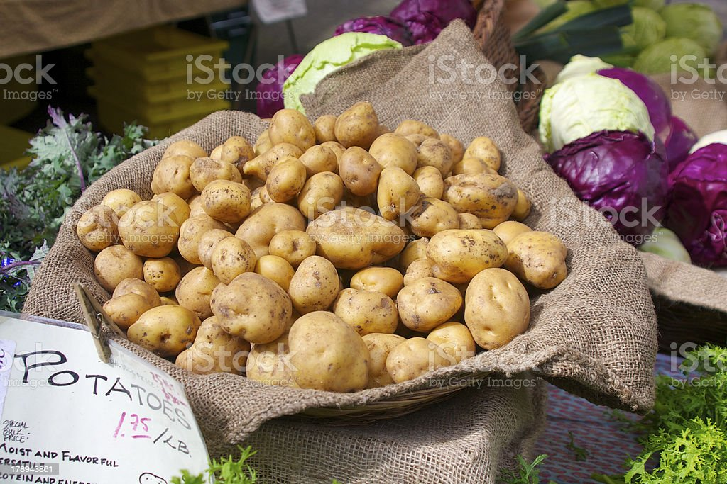 Farmer's market potatoes stock photo