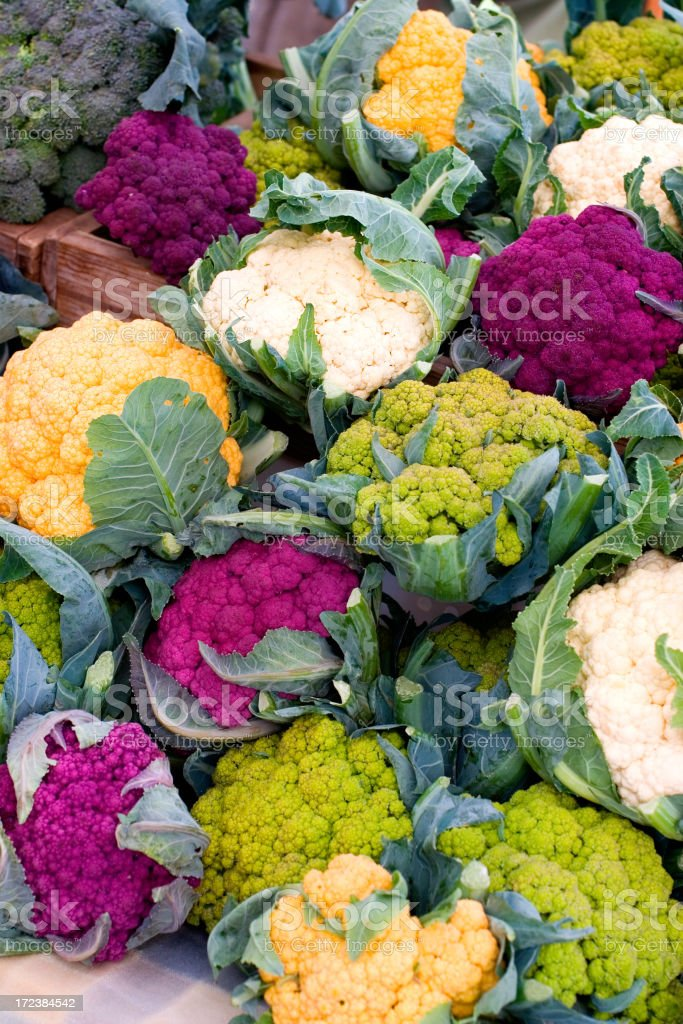 Farmer's Market - Rainbow Cauliflower stock photo
