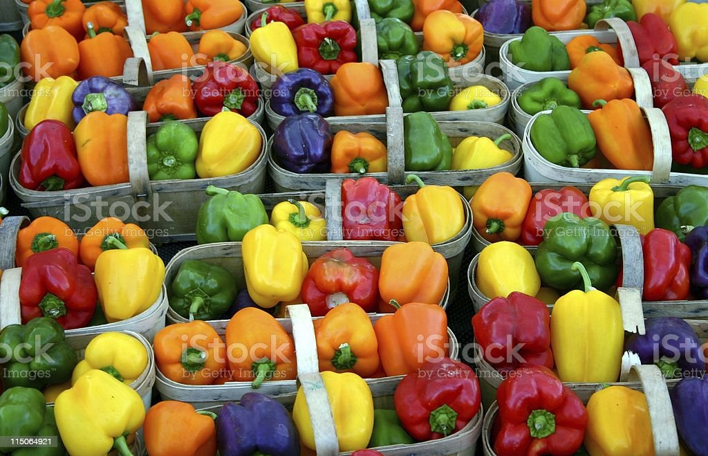 farmers market; rainbow of peppers royalty-free stock photo