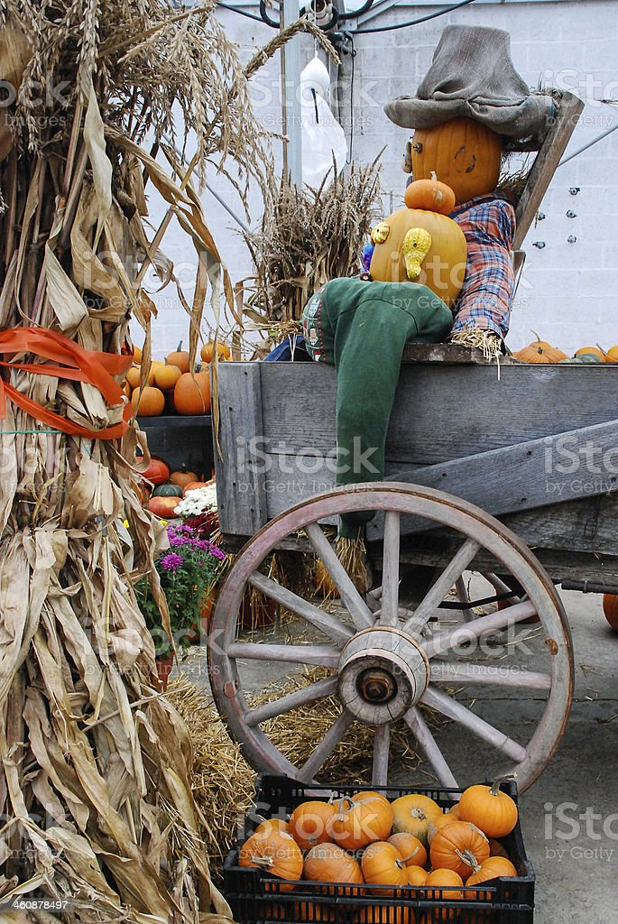 Farmers market scarecrow and Halloween Crops East Lyme Connecticut stock photo