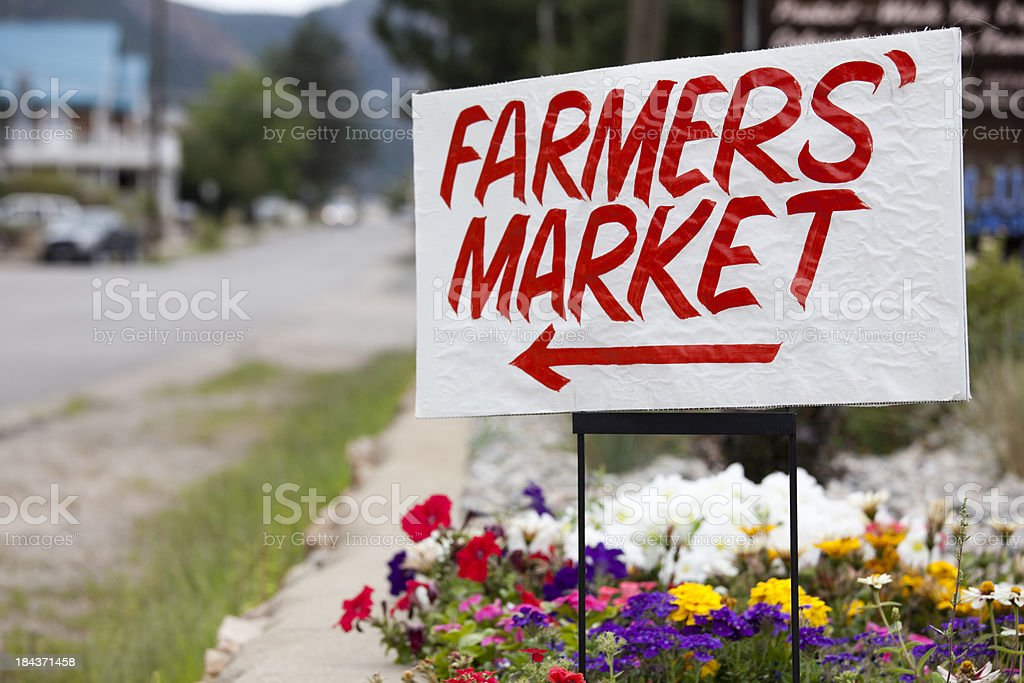 Farmers Market Sign, Colorado stock photo