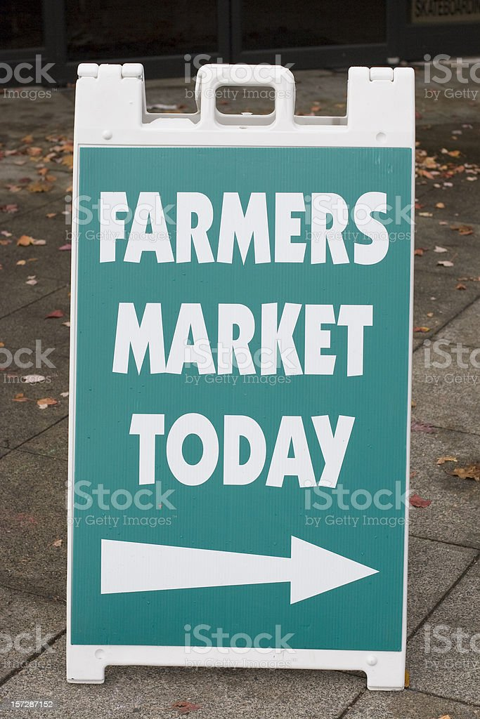 farmers market today sign, arrow right royalty-free stock photo