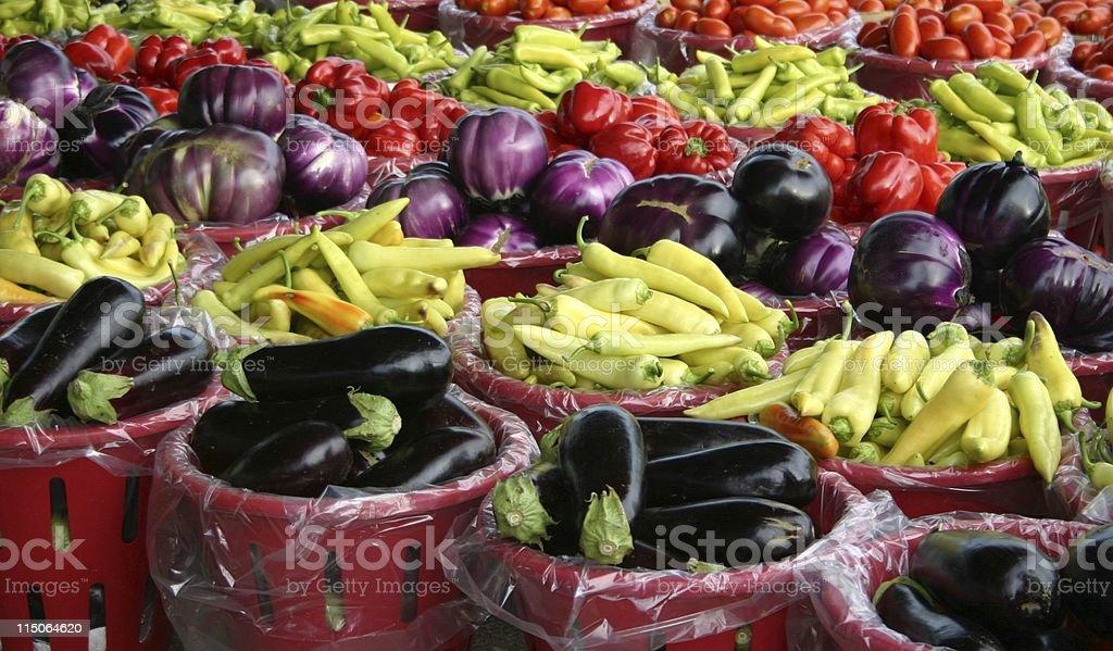 Farmers Market Vegetable Display royalty-free stock photo