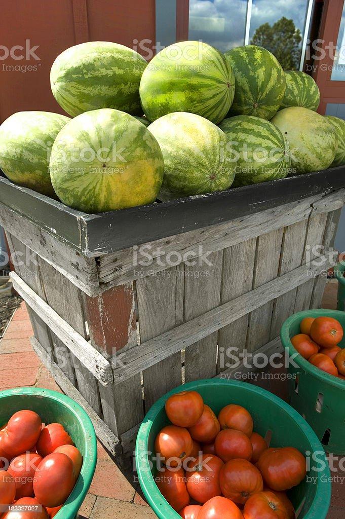 farmers market with fresh watermelon stock photo