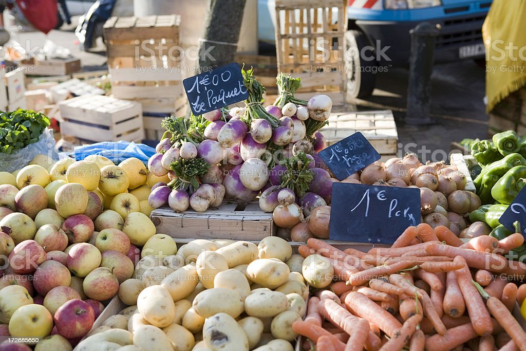 Farmers market with fruits and vegetables royalty-free stock photo
