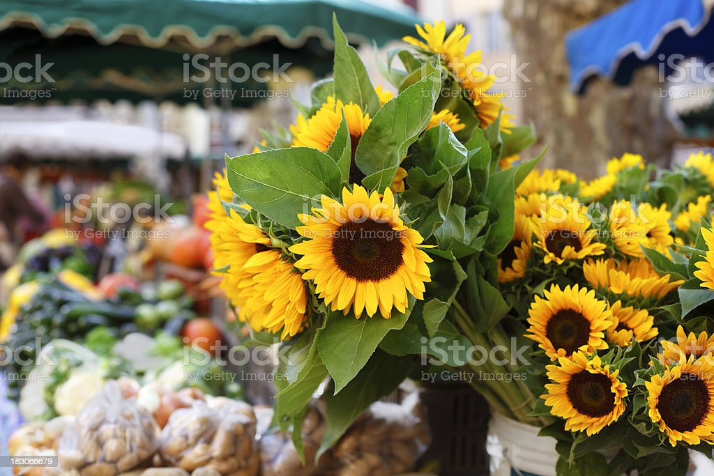 Farmers market with sunflowers royalty-free stock photo