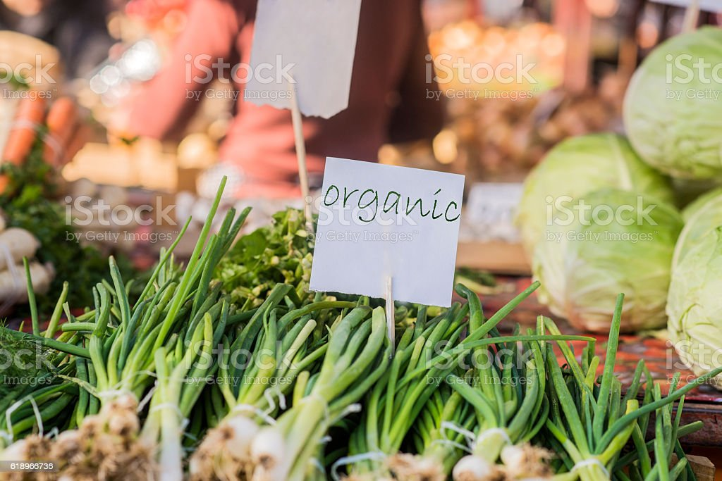 Farmers markets are a traditional way of selling agricultural products. stock photo