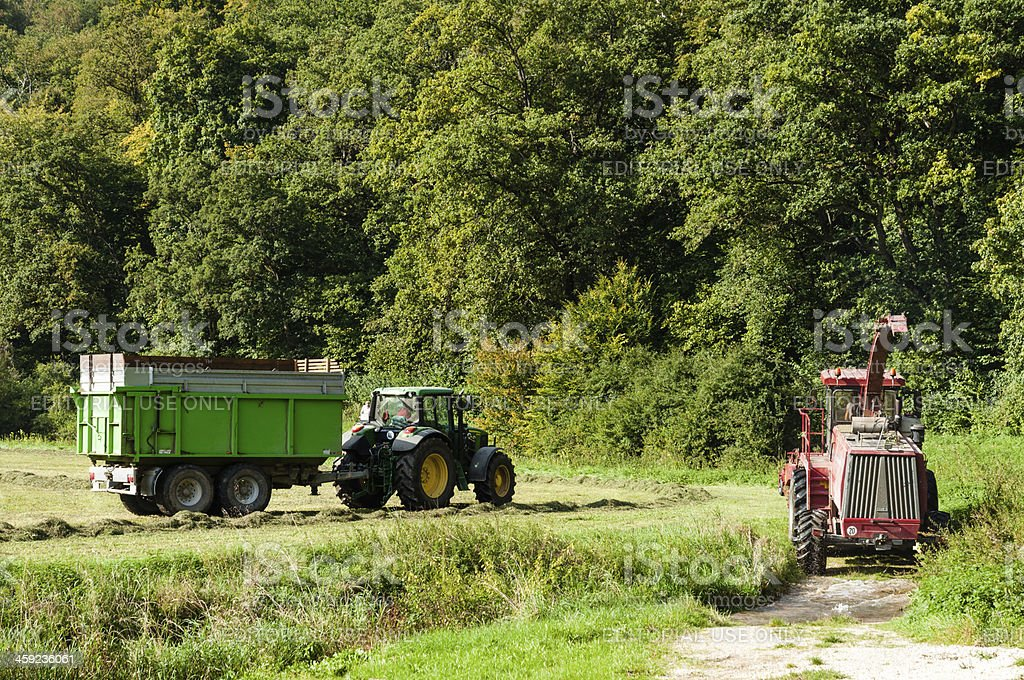Farmers with the haymaking, summer in southern Germany stock photo