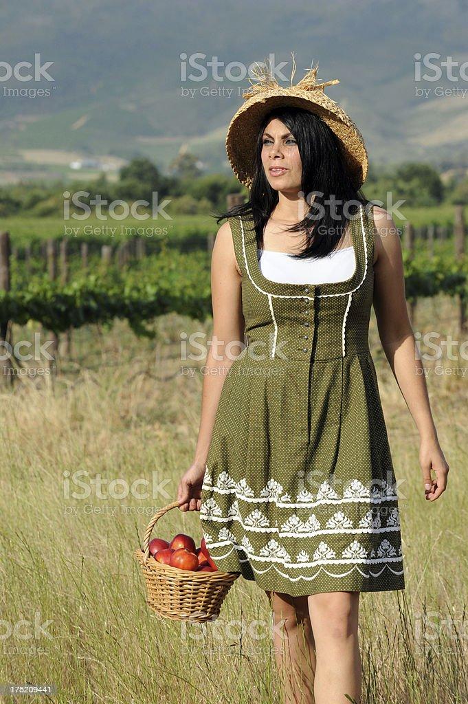 Farmgirl wandering royalty-free stock photo