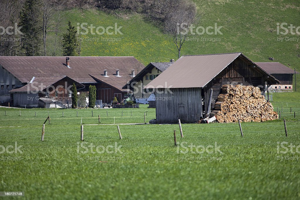 Farmhouse and barn stacked firewood Spring, Bernese Oberland royalty-free stock photo