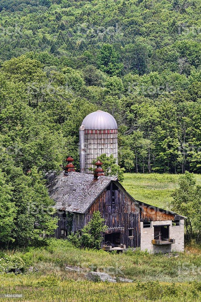 Farmhouse and silo stock photo