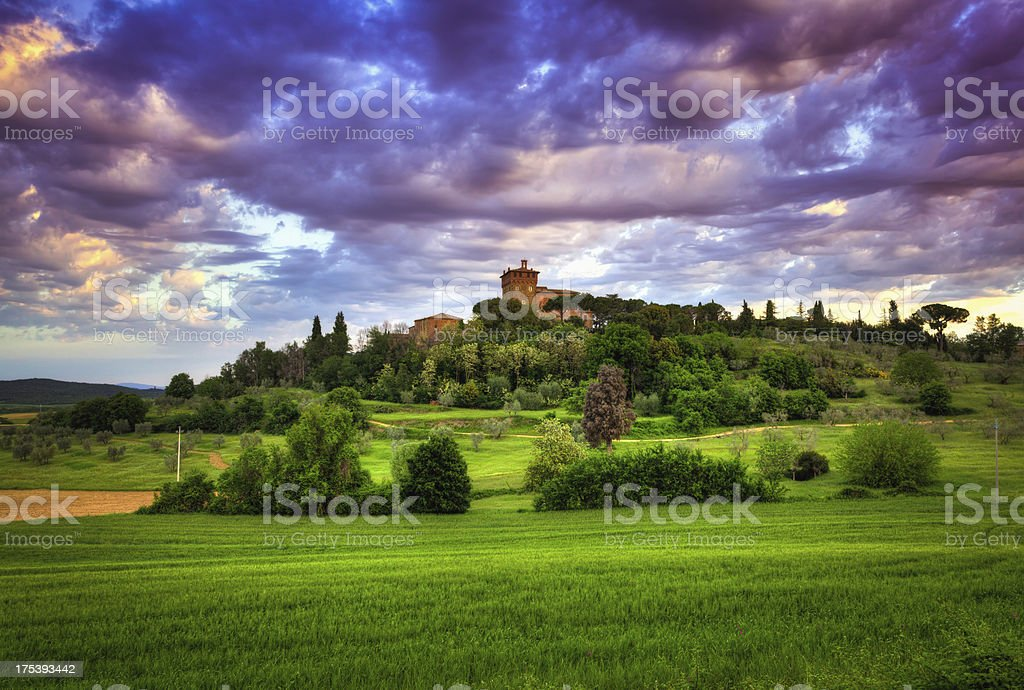 Farmhouse at Sunrise in Val d'Orcia, Tuscany royalty-free stock photo