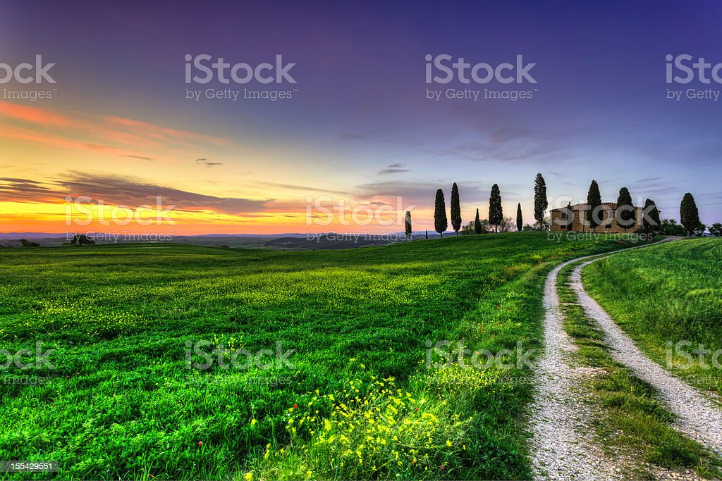 Farmhouse at Sunset in Val d'Orcia, Tuscany royalty-free stock photo