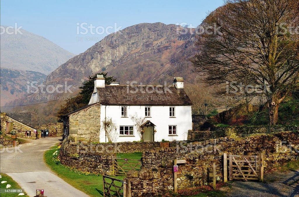 Farmhouse cottage on Yew Tree Farm stock photo