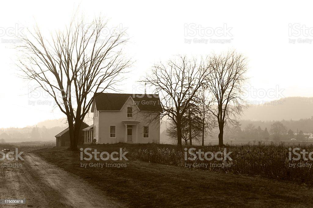 Farmhouse Foggy Twilight stock photo
