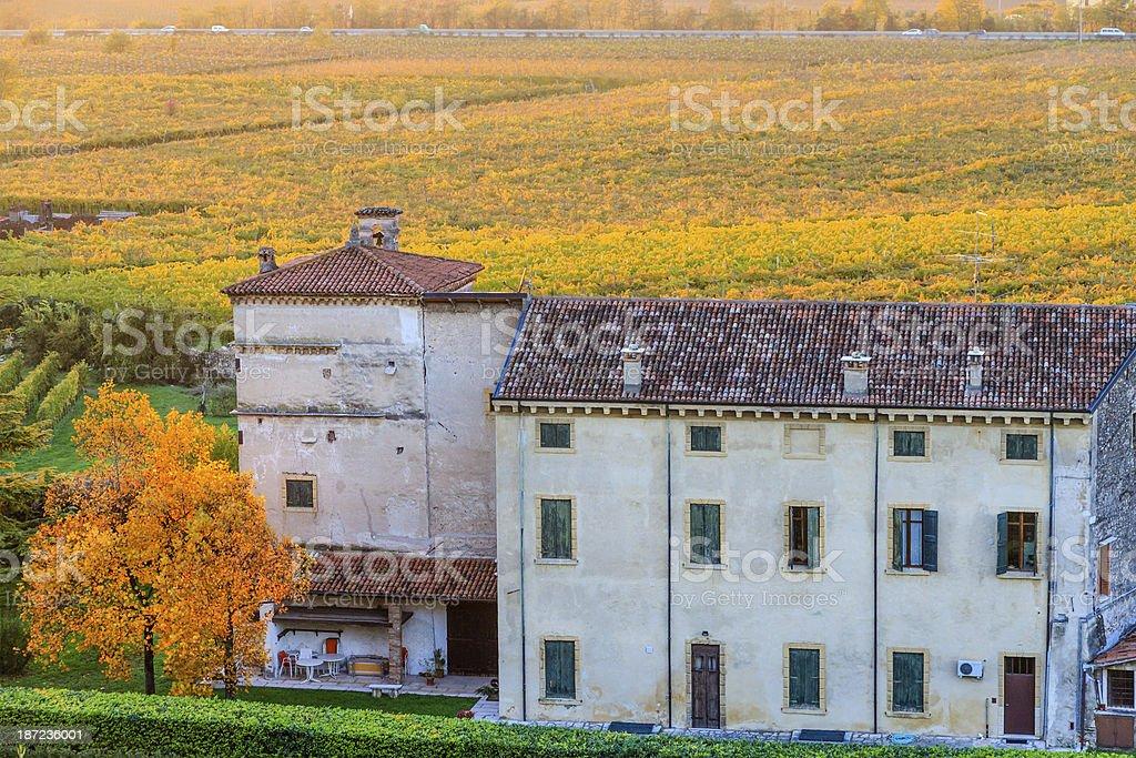 Farmhouse in autumn royalty-free stock photo