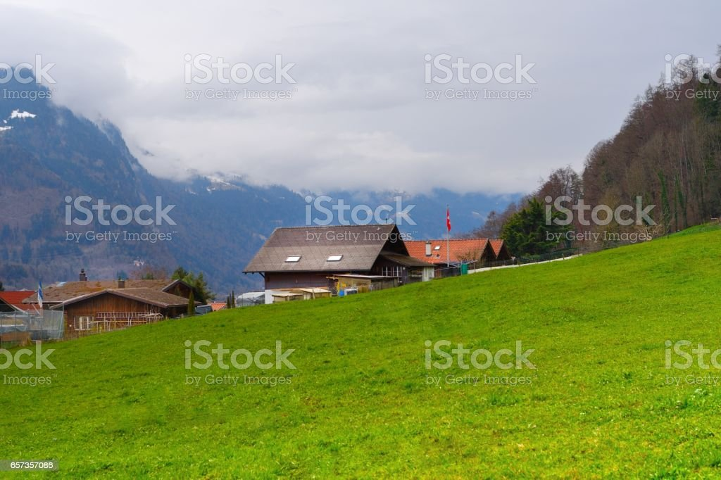 Farmhouse in Interlaken,Switzerland stock photo