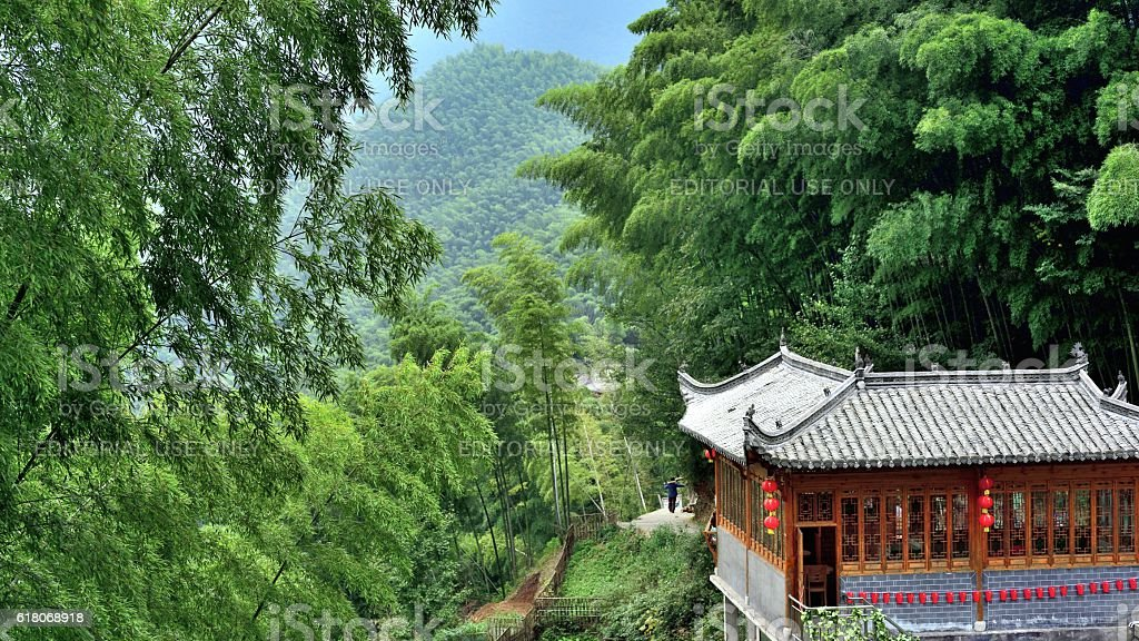 farmhouse in the bamboo forest 02 stock photo