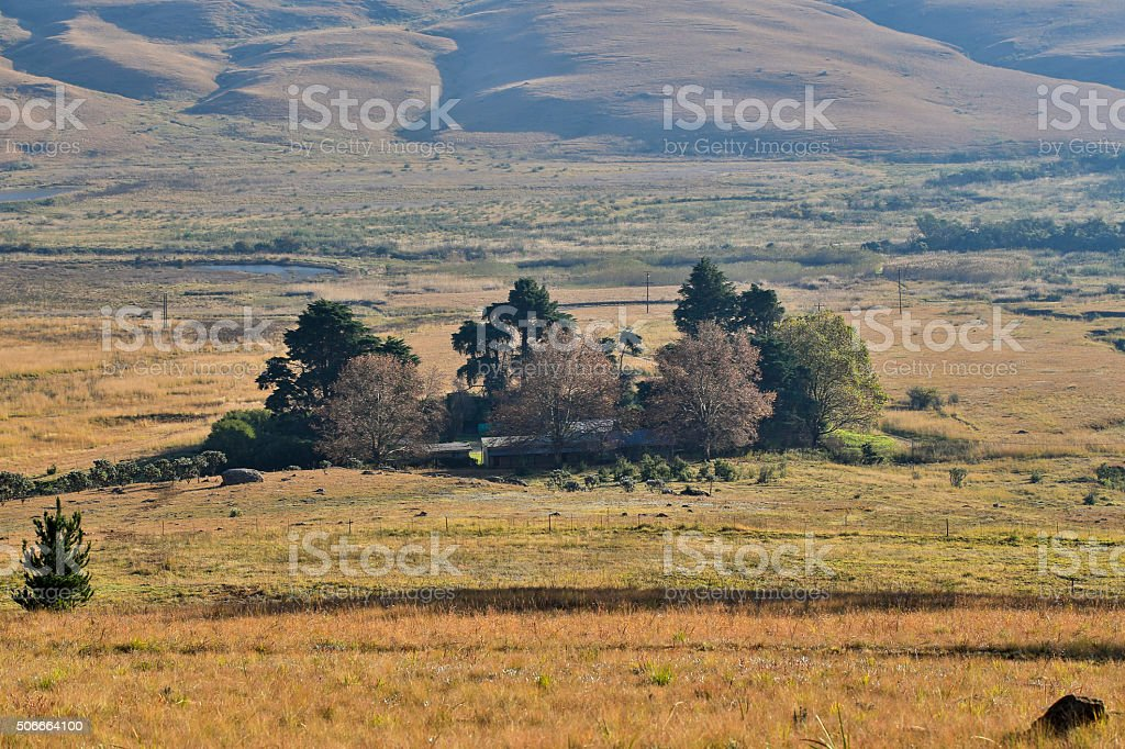 Farmhouse in the Natal Drakensberg South Africa stock photo