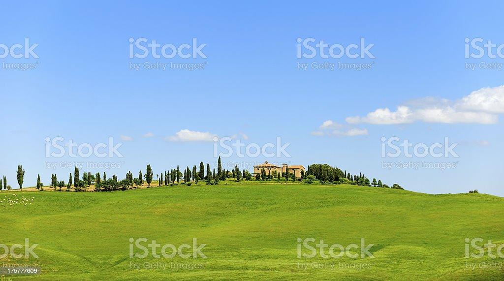farmhouse in Tuscany landscape royalty-free stock photo