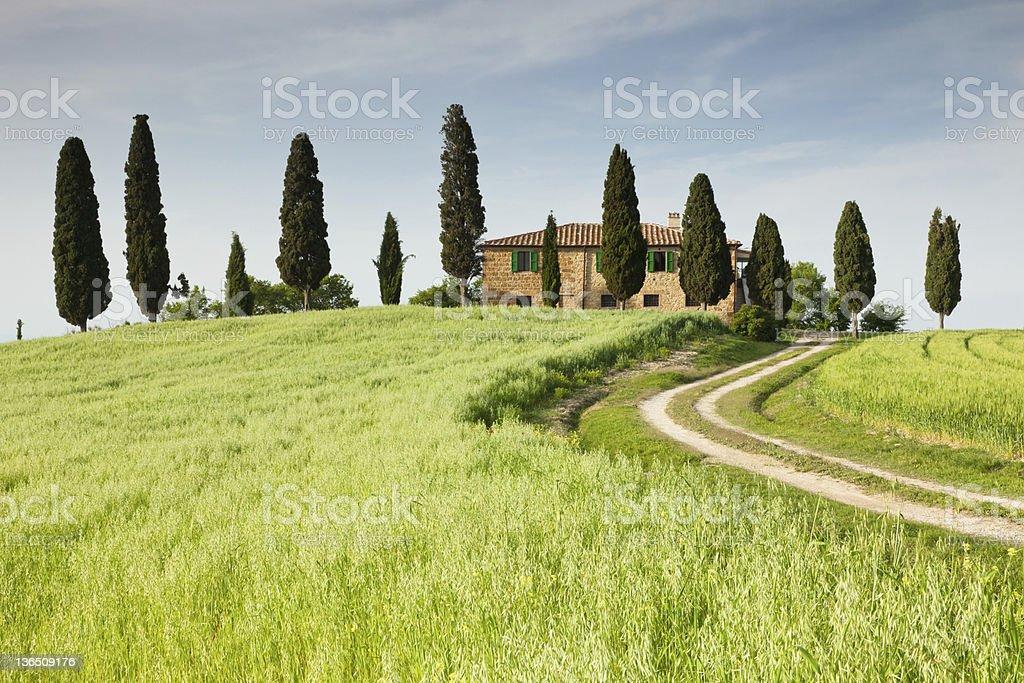 Farmhouse in Tuscany near Pienza, Italy royalty-free stock photo