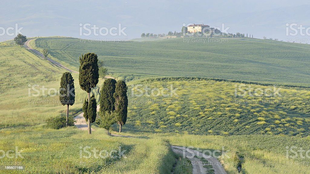 Farmhouse in Val d' Orcia royalty-free stock photo