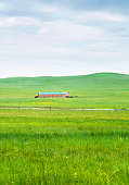Farmhouse on prarie landscape