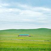 Farmhouse on prarie landscape