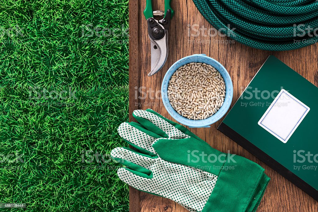 Farming and gardening tools stock photo