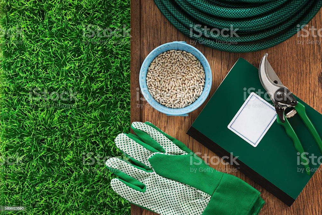 Farming and gardening tools stock photo