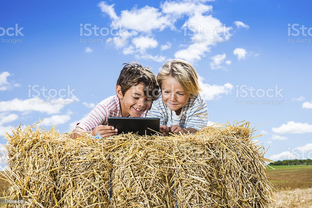 Farming brothers (real) using a tablet computer royalty-free stock photo