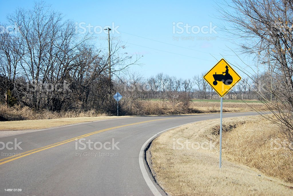 Farming Equipment Ahead Sign stock photo