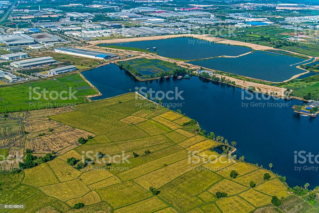 Farming, Industrial Estate Water Reservoir Aerial Photography stock photo