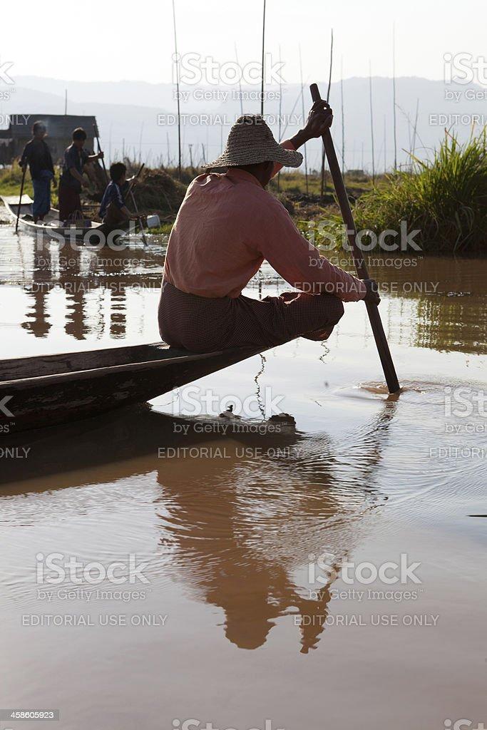 Farming on Inle Lake, Myanmar royalty-free stock photo