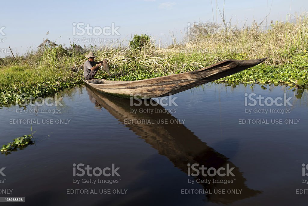 Farming on Inle Lake, Myanmar royalty-free stock photo