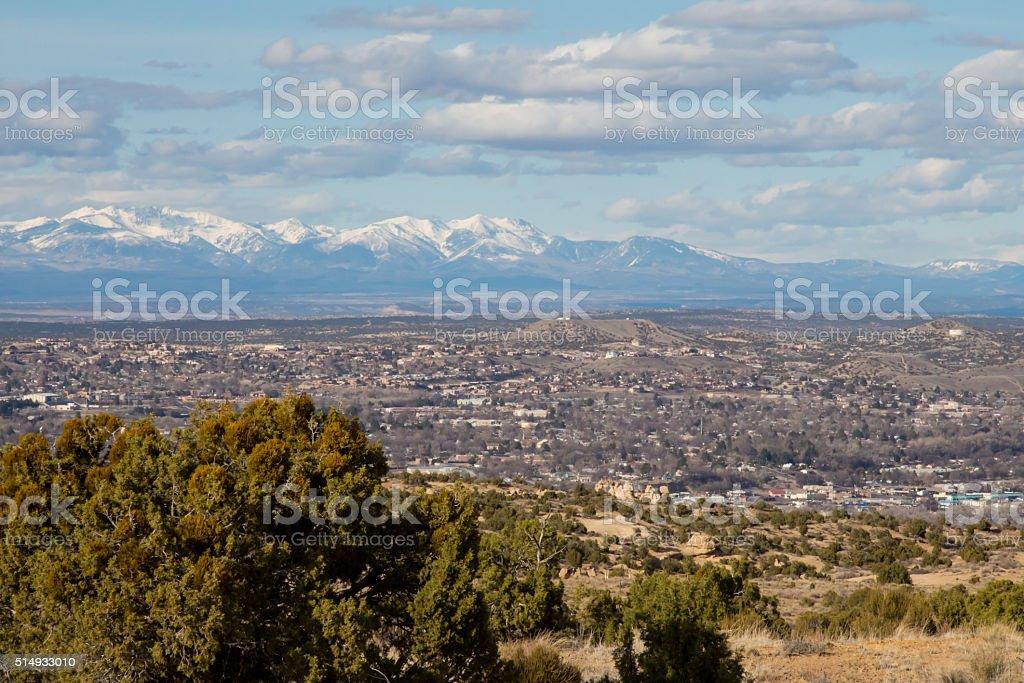 Farmington, New Mexico with snowcapped peaks stock photo