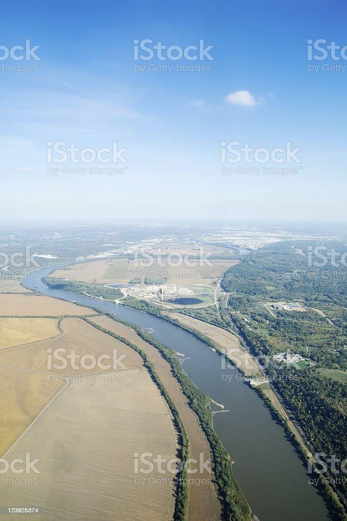 Farmland along the River II stock photo