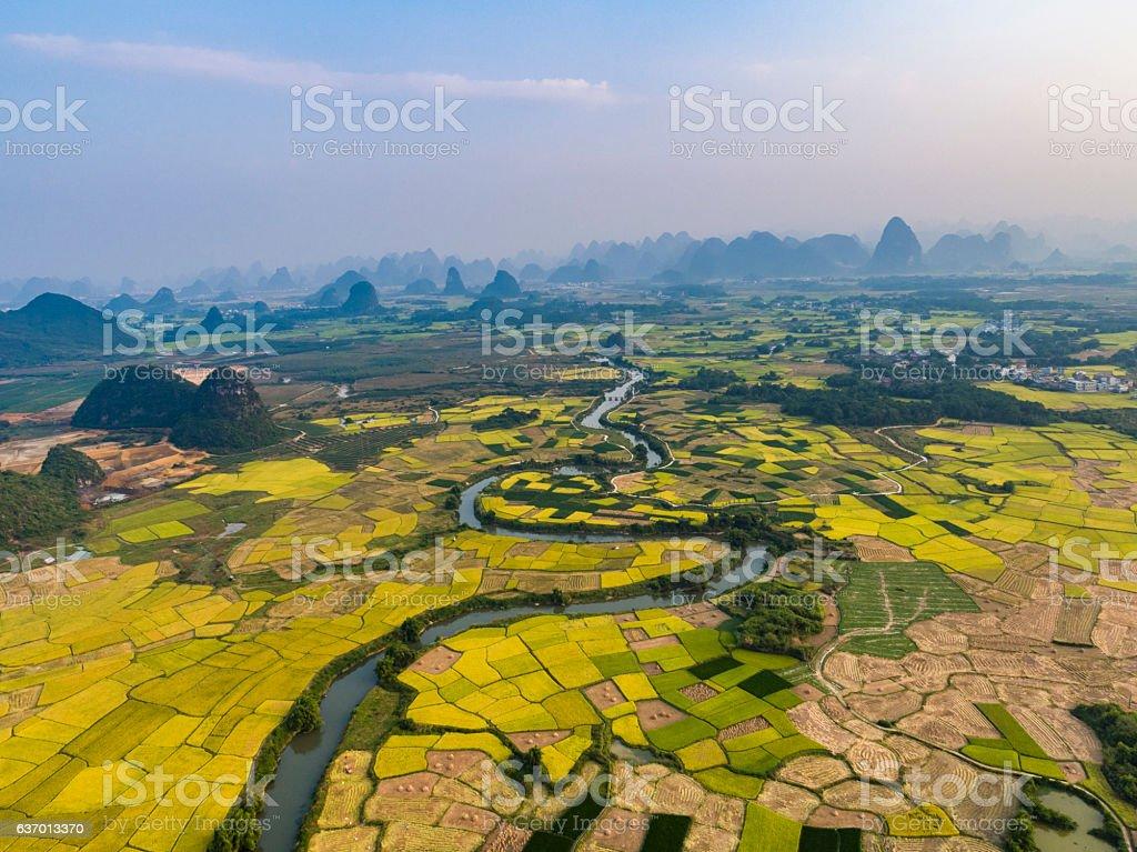 Farmland and karst landform dusk,guilin,china stock photo