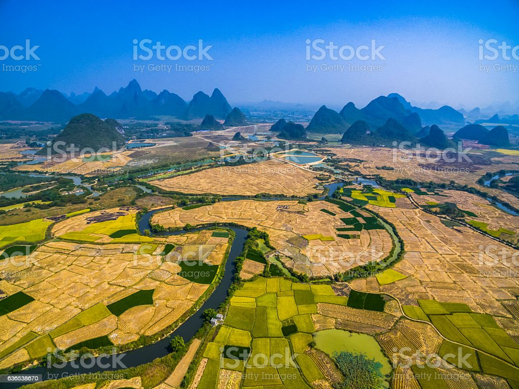 Farmland and karst landform dusk,xingping,yangshuo,guilin,china stock photo