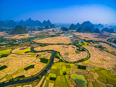 Farmland and karst landform dusk,xingping,yangshuo,guilin,china