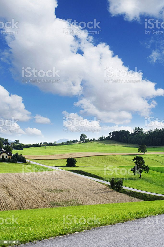 Farmland and Rolling Green Hills Againat Blue Cloudy Sky royalty-free stock photo