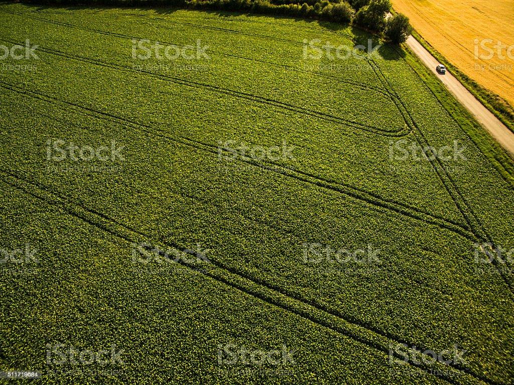 Farmland from above stock photo