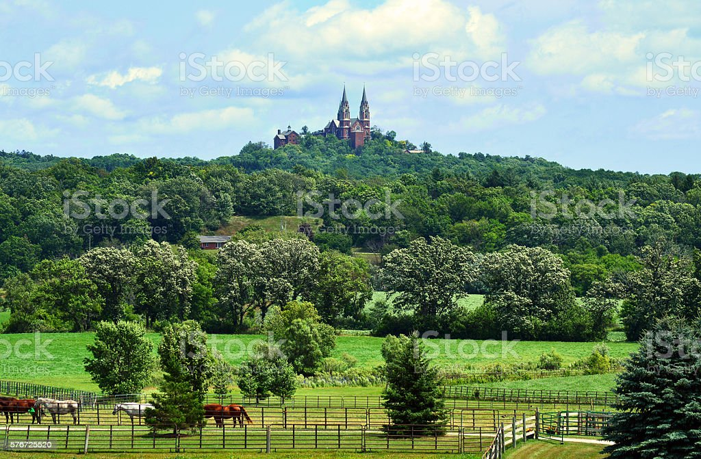 Farmland, Hills and a Cathedral stock photo