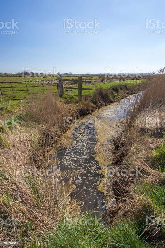 Farmland irrigation trench. Grazing land with fence bordered by drainage ditch. stock photo