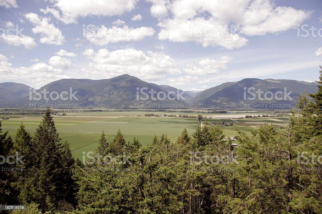 Farmland Landscape Creston British Columbia stock photo