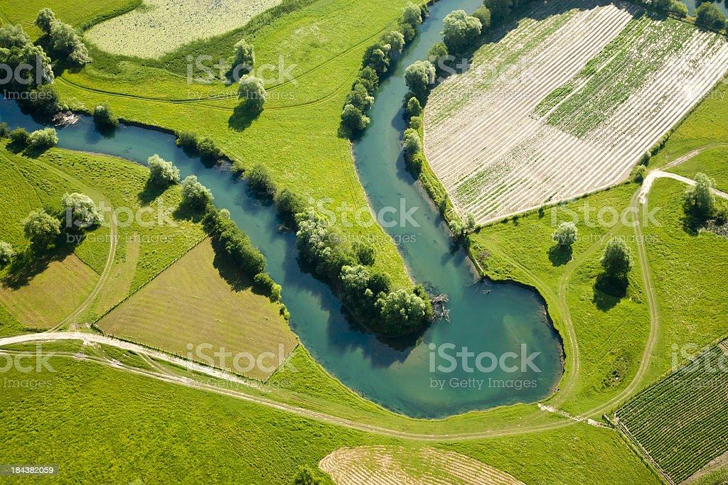 Farmland patchwork, aerial view stock photo